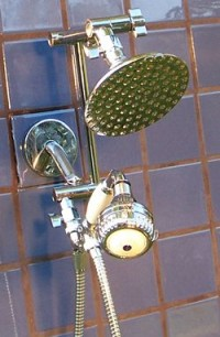 Double 5 1/4 Inch Rainshower and Super 3 Handheld - Product Image