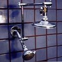 "Double Shower Head with 5 1/4"" Rainshower and Super 5 Blue - Product Image"