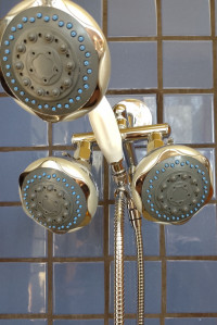 Triple Blue Shower with Handheld Option - Product Image